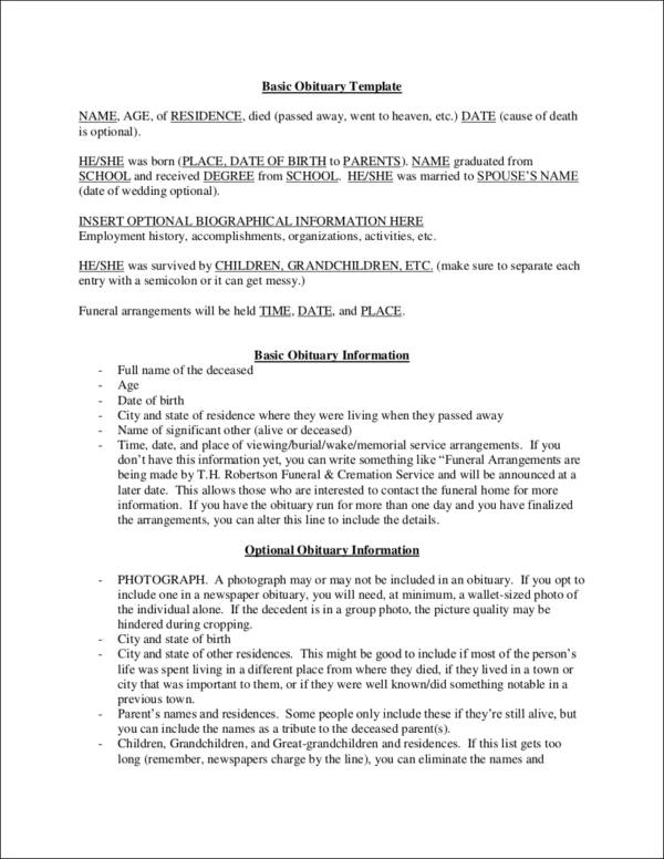 Basic Obituaries Template for free notice template