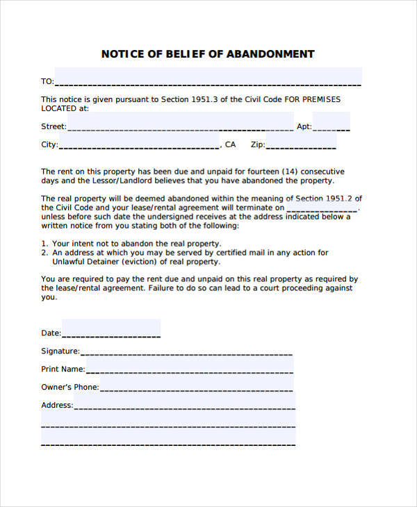 Belief Notice of Abandonment Template for abandonment notice