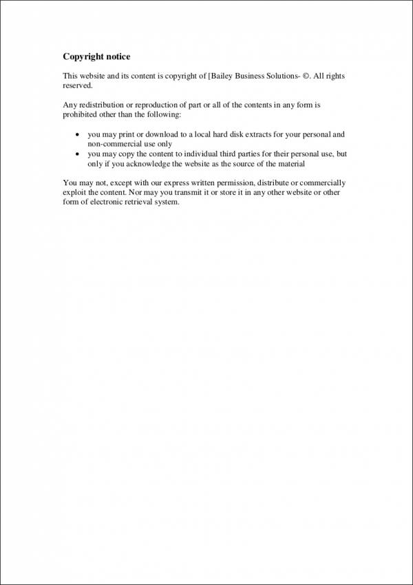 Business Solutions Sample Copyright Notice for copyright notice samples