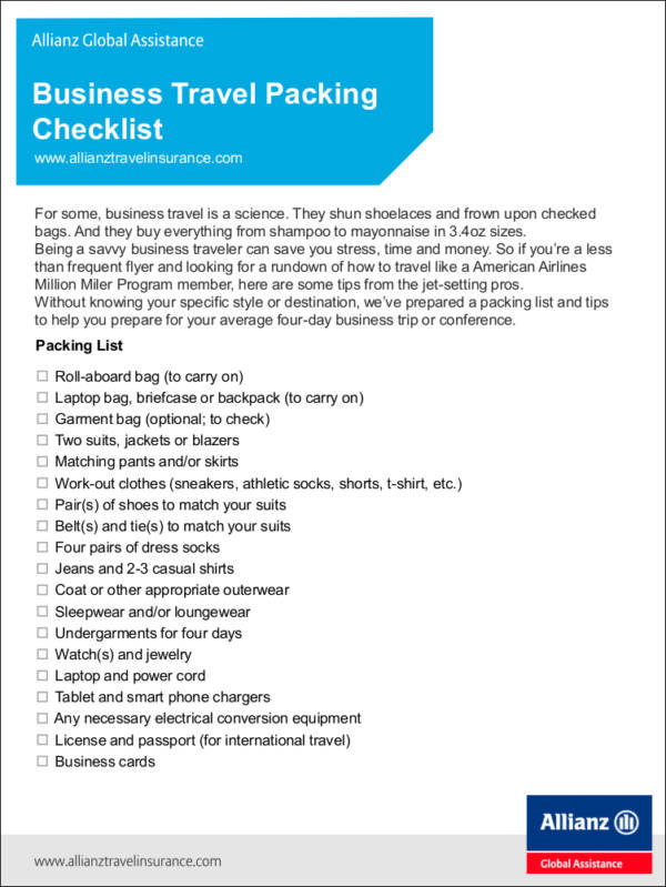 Business Travel Packing checklist for free checklist templates