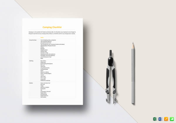 Camping Checklist Template for camping checklist