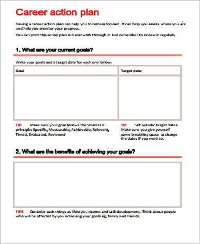 Career Action Plan Printable For Sample Career Action Plan