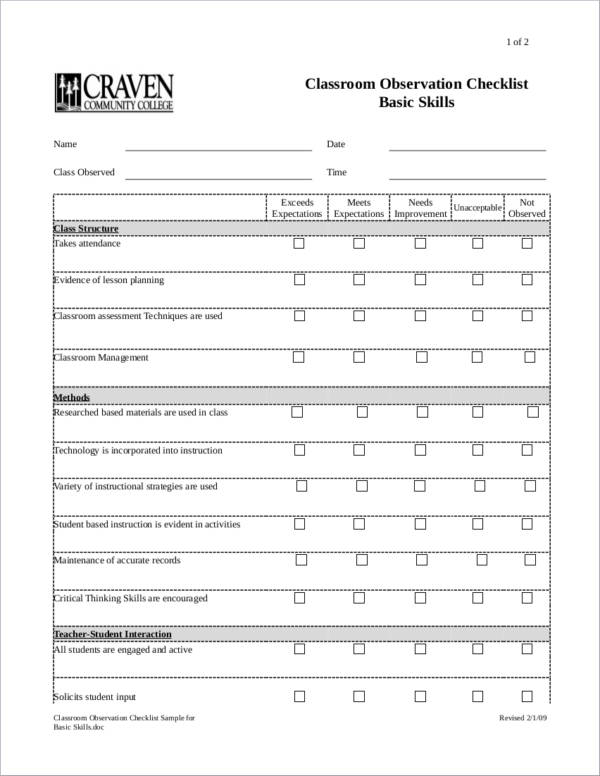 Classroom Observation Checklist Sample for Basic Skills for word checklist templates
