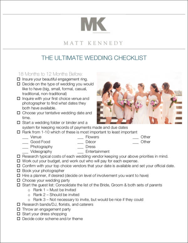 Complete Wedding Checklist Template for sample checklist templates