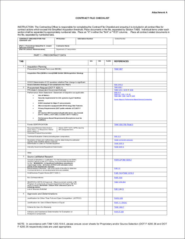 Contract File Checklist for sample checklist templates