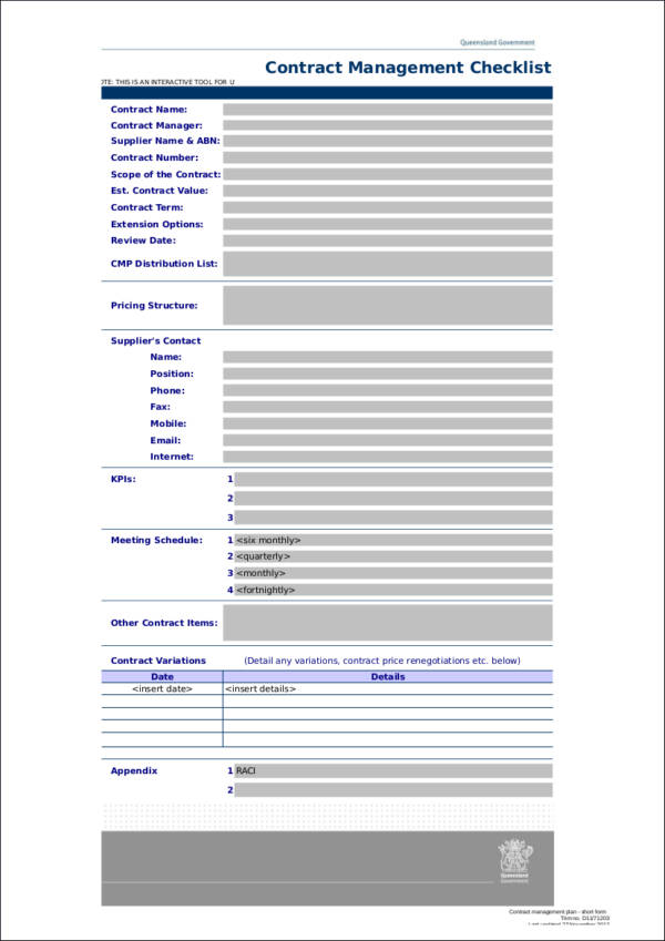 Contract Management Checklist Template for sample checklist templates