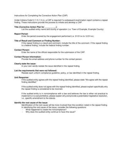 Corrective Action Plan Completion Sample For Corrective Action Plan Samples