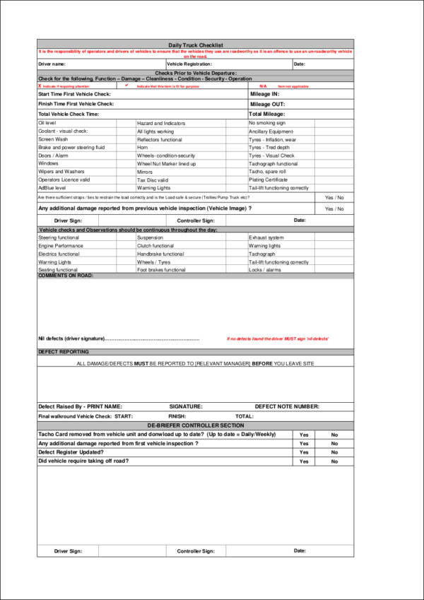 Daily Truck Checklist for sample checklist templates