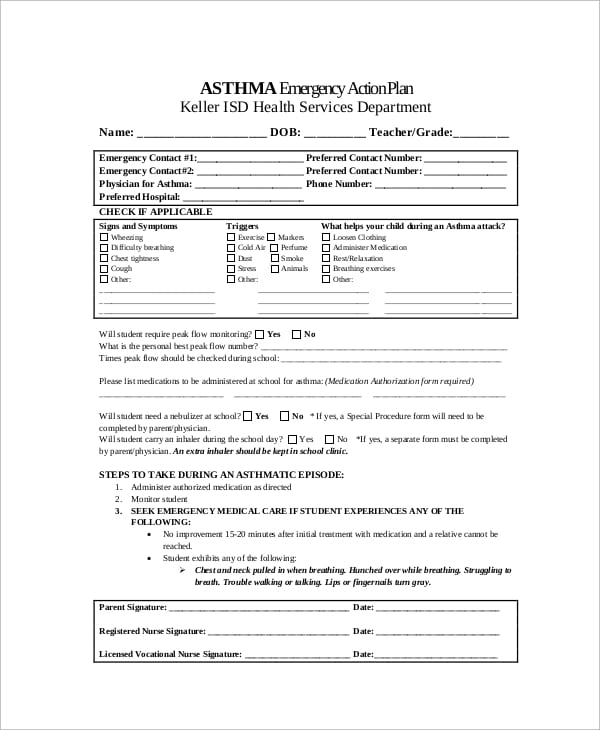 Emergency Asthma Action Plan For Asthma Action Plan