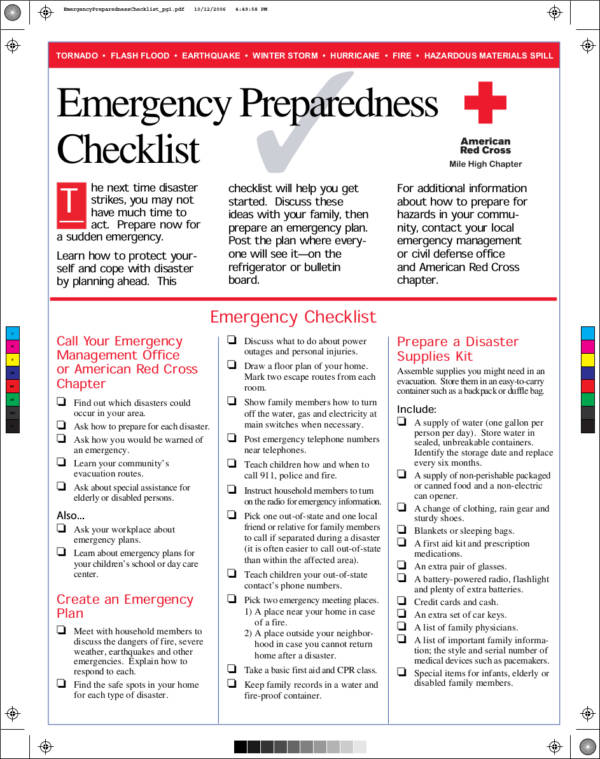 Emergency Preparedness Checklist Template for sample checklist templates
