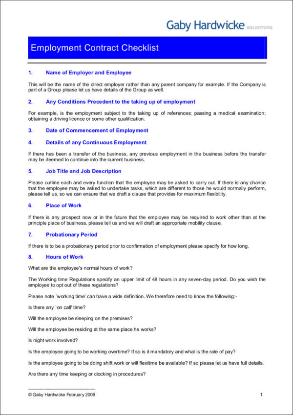 Employment Contract Checklist for sample checklist templates
