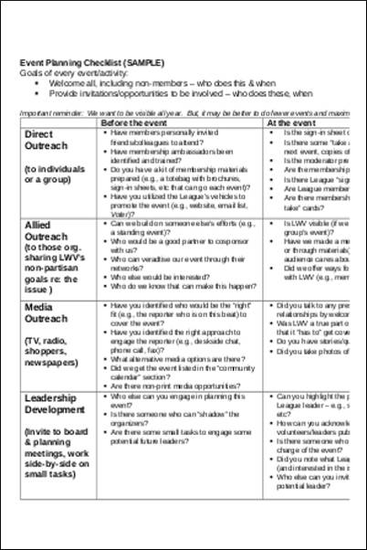 Event Planning Checklist Sample for word checklist templates