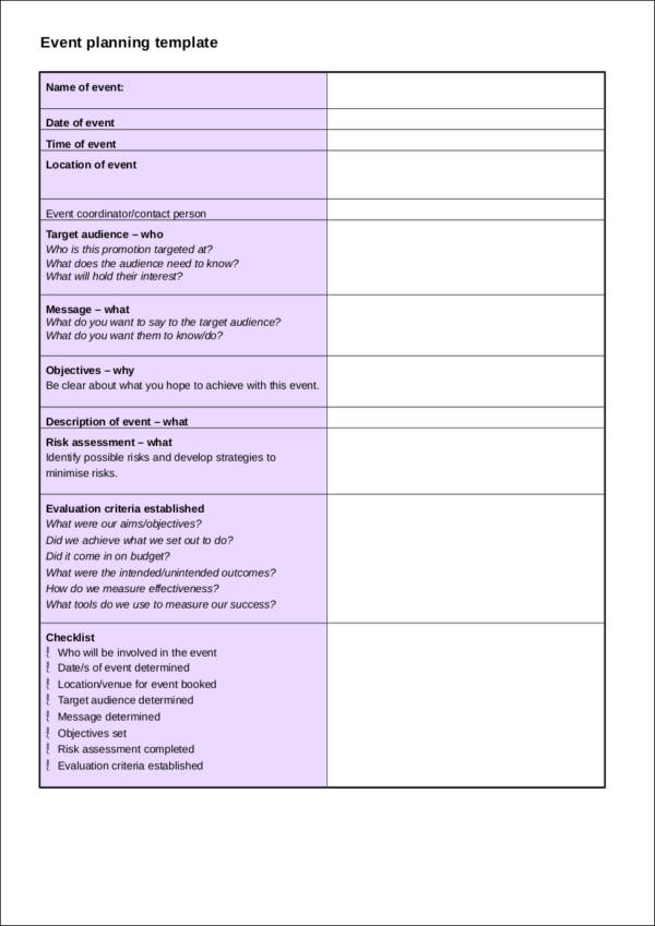 Event Planning Checklist Template for free checklist templates