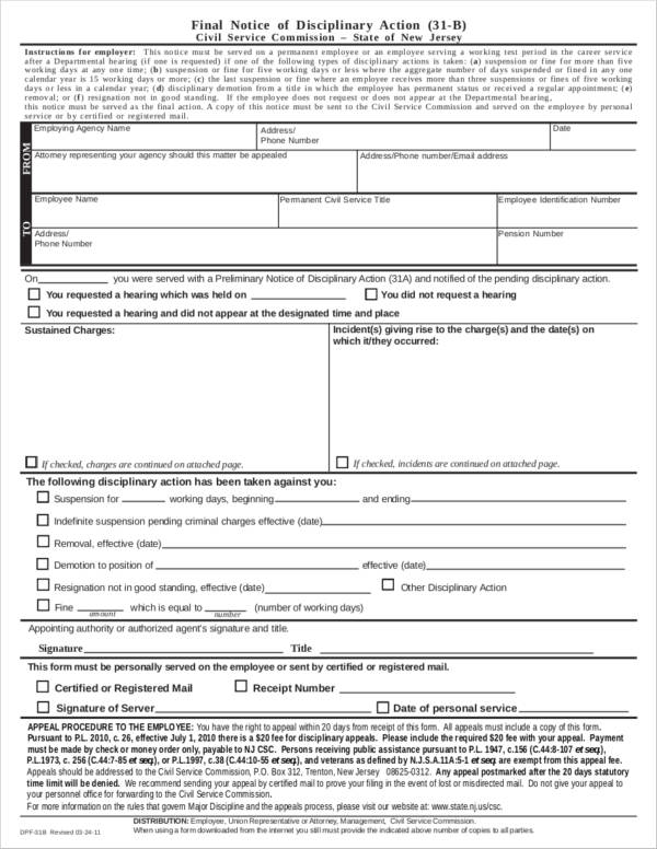 Final Notice of Disciplinary Action for sample final notice template