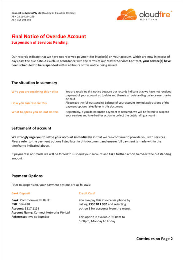 Final Notice of Overdue Account for sample final notice template