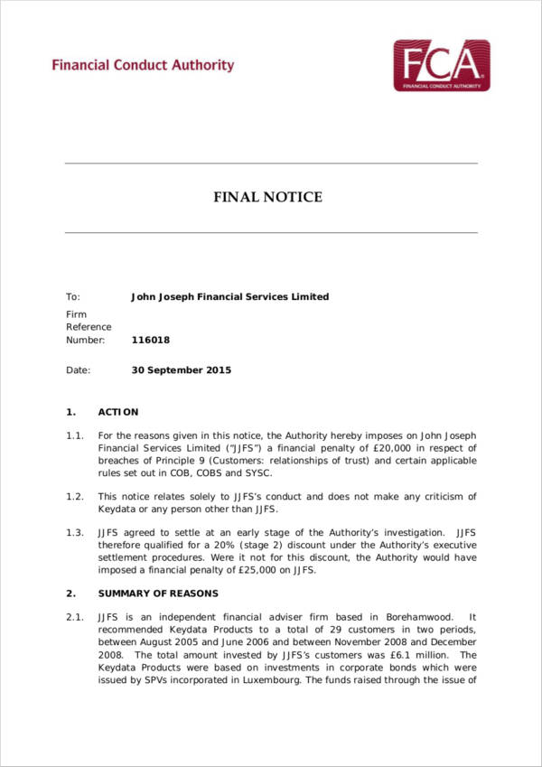 Financial Service Final Notice for sample final notice template