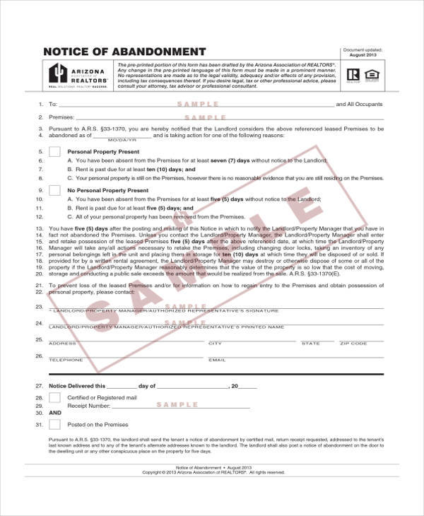 Free Notice of Abandonment Template for abandonment notice