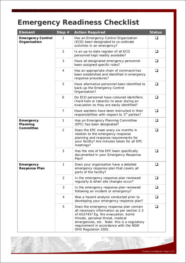 General Emergency Readiness Checklist Template for sample checklist templates