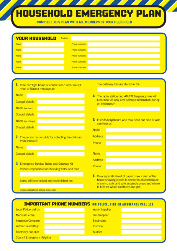 Household Emergerncy Checklist Template for free checklist templates