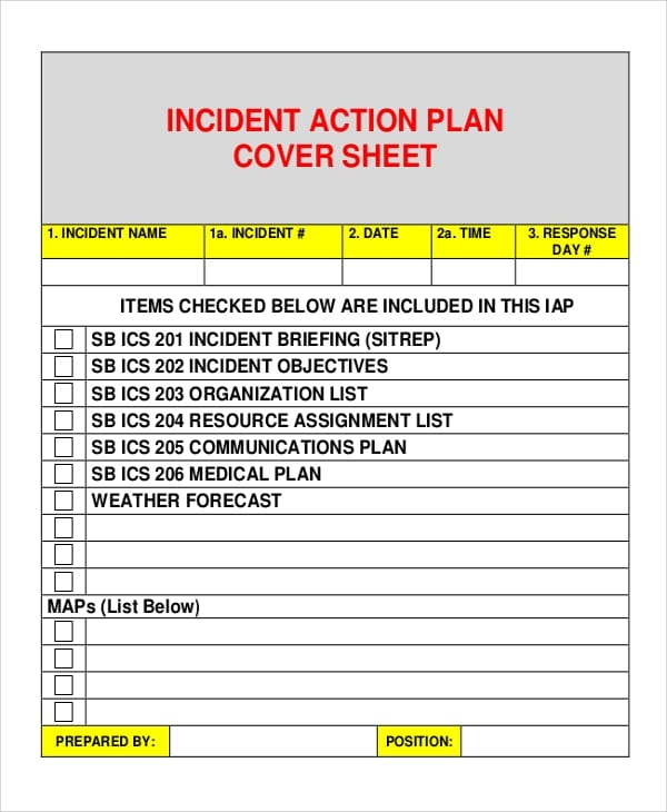 Incident Action Plan Cover Sheet For Incident Action Plans