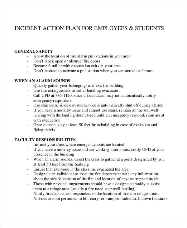 Incident Action Plan For Employee For Incident Action Plans