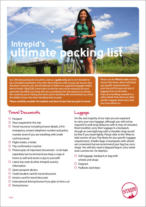 Intrepid's ultimate packing list for free checklist templates