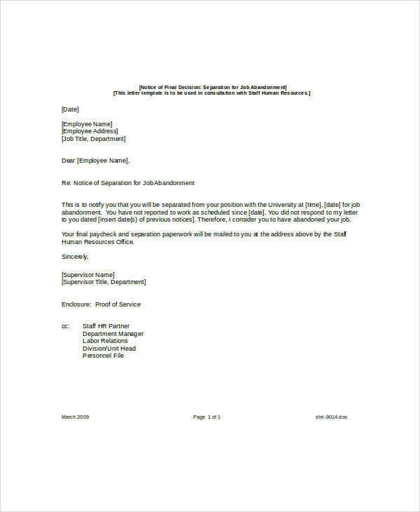 Job Abandonment Separation Notice for abandonment notice