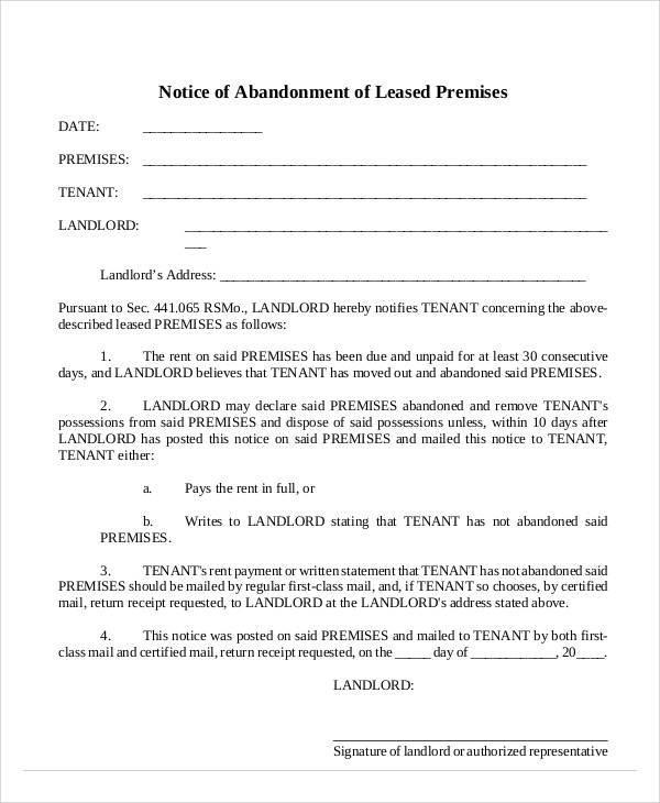 Lease Abandonment Notice Template for abandonment notice