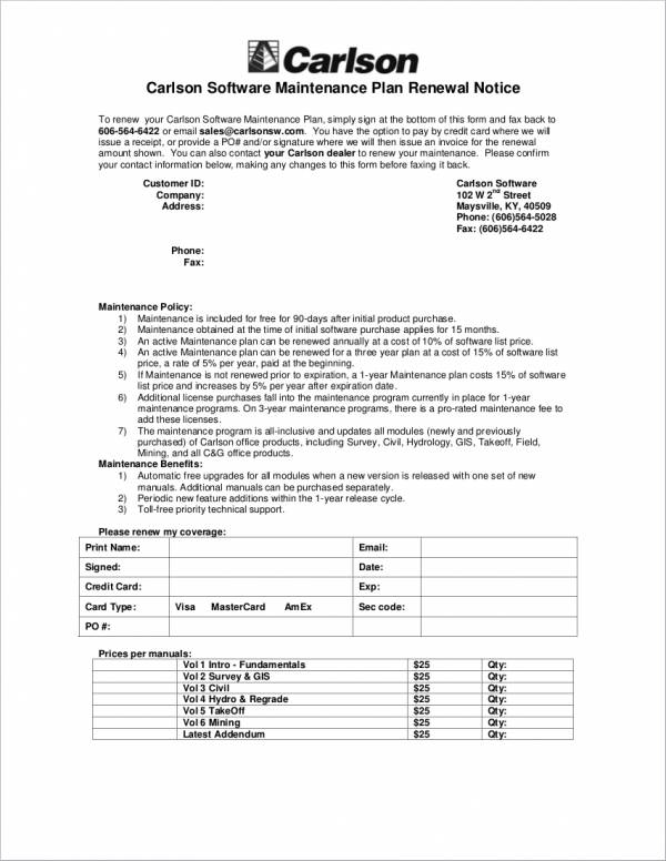 Maintenance Renewal Notice Sample for free notice template