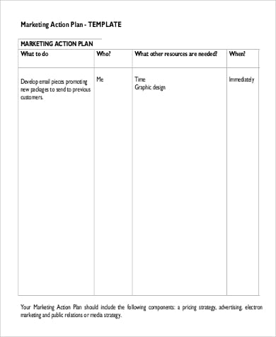 Marketing Action Plan Sample In Pdf For Sample Marketing Action Plan