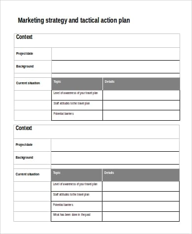 Marketing Strategy And Tactical Action Plan Sample In Word For Sample Marketing Action Plan