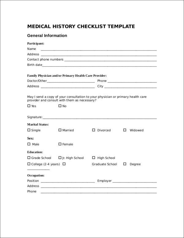 Medical History Checklist Template for sample checklist templates