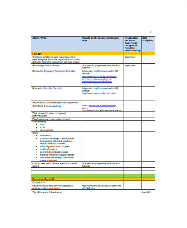 New Employee Checklist Template for word checklist templates