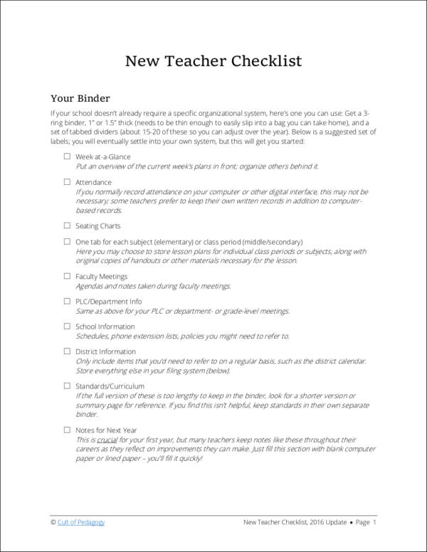 New Teacher Checklist for sample checklist templates