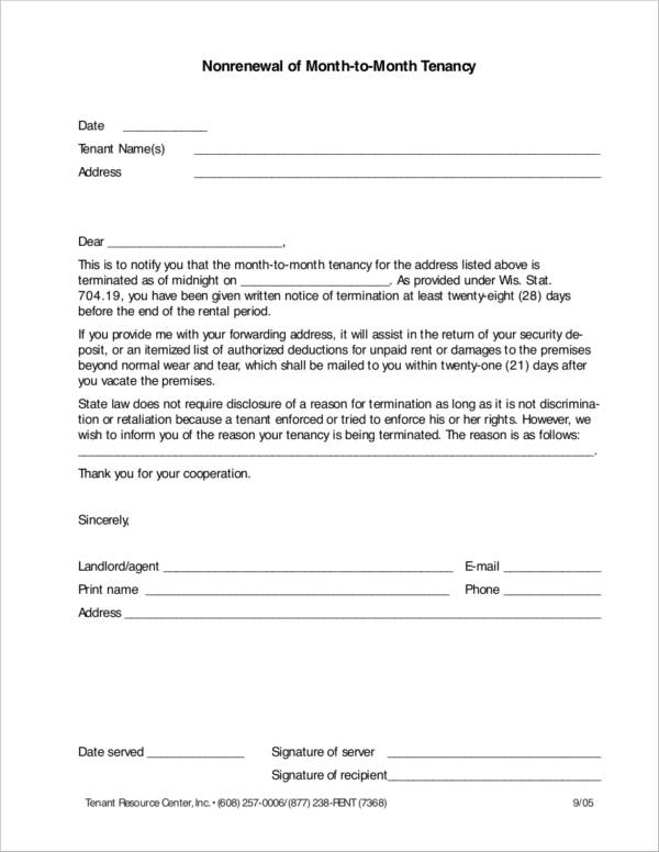Nonrenewal of Month to Month Tenancy Renewal Notice Sample for free notice template