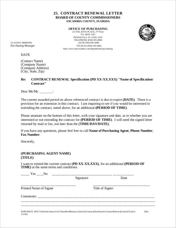 Notice Sample for Renewal of Contract for free notice template
