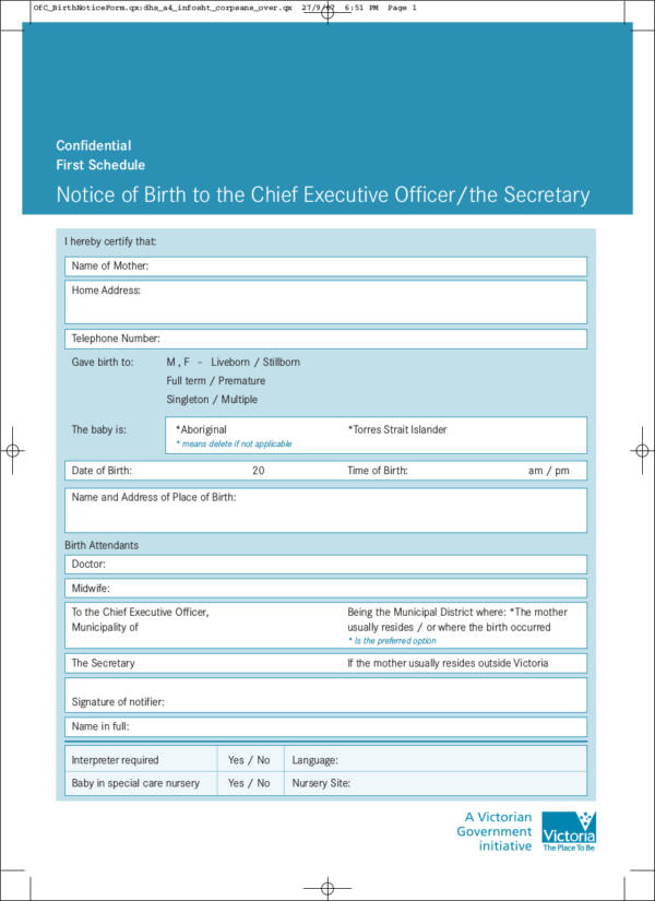 Notice of Birth to the Chief Executive Officer or the Secretary for free notice template