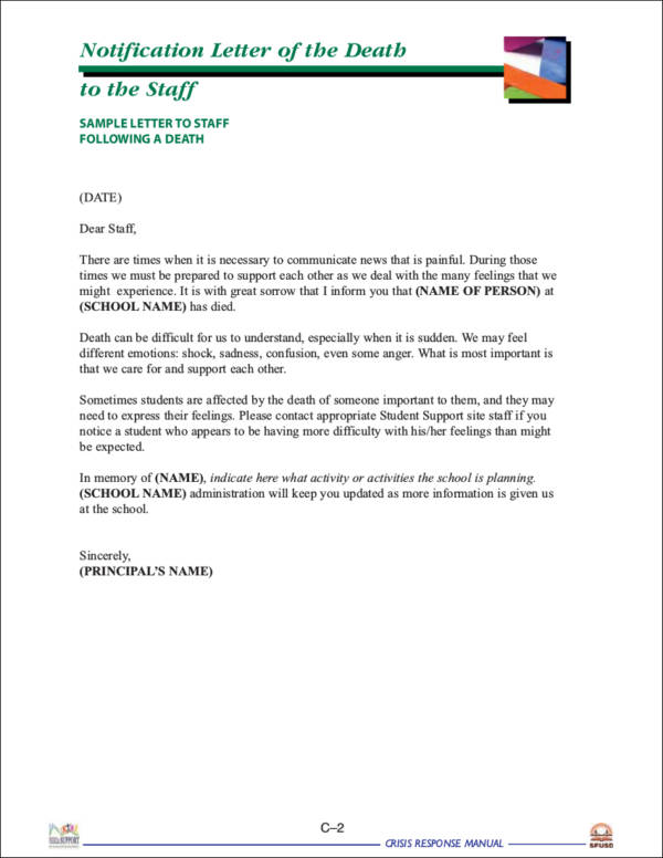 Notification Letter of the Death for free notice template