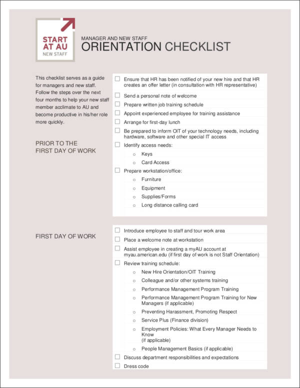 ORIENTATION CHECKLIST for new employees for free checklist templates