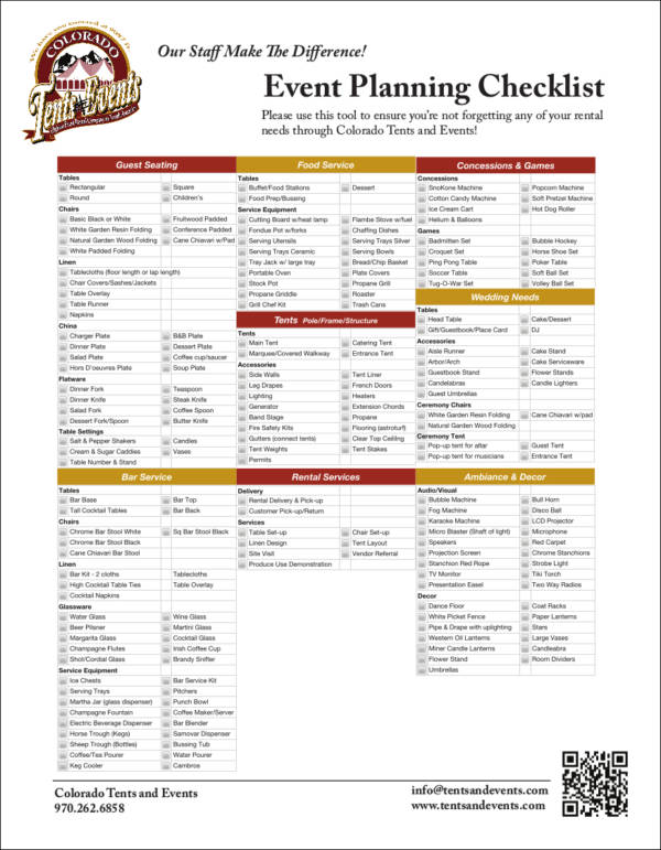 One Page Event Planning Checklist for free checklist templates