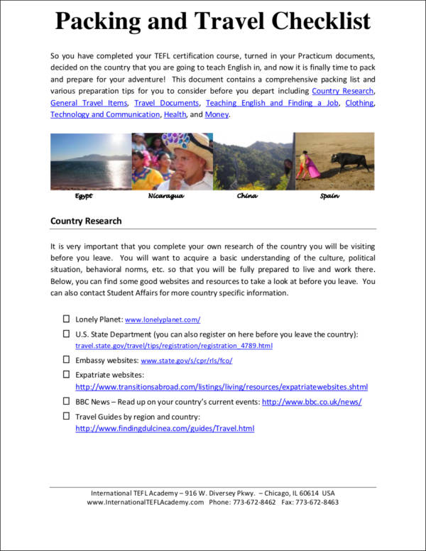 Packing and Travel Checklist for free checklist templates