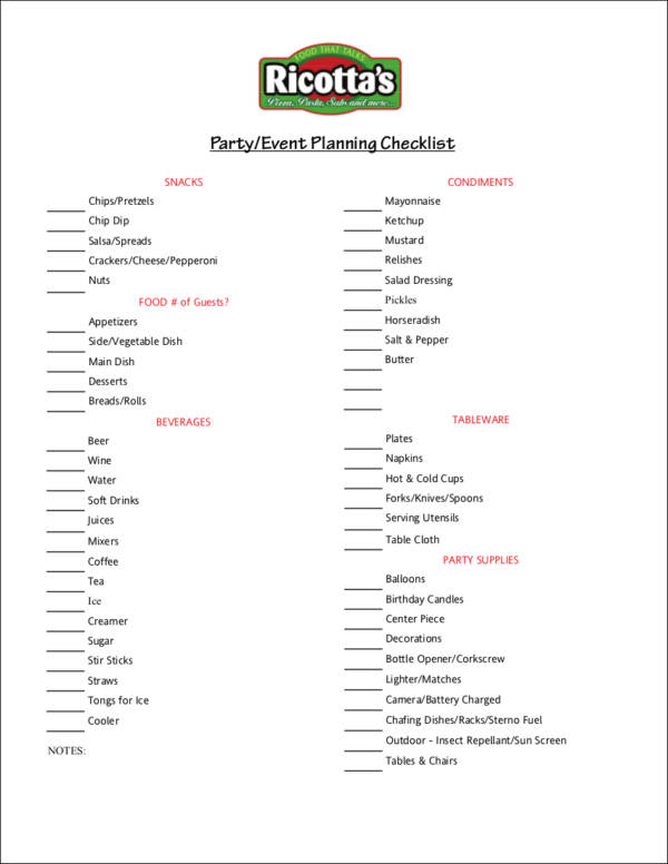 Party or Planning Checklist for free checklist templates