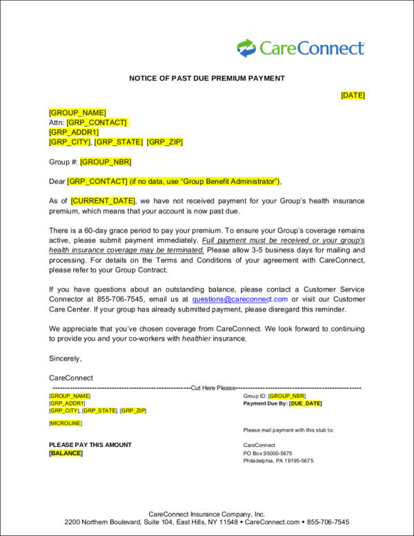 Payment Notice for Past Due Premium for free notice template