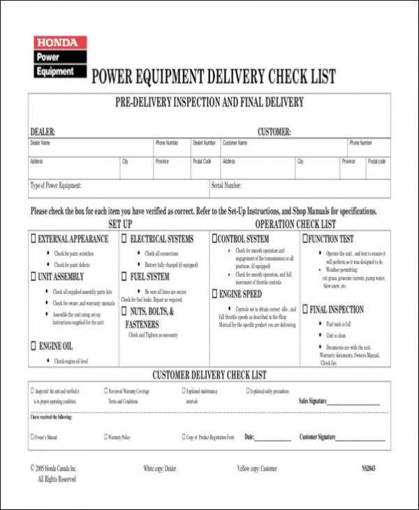 Power Equipment Delivery Check List for equipment checklists