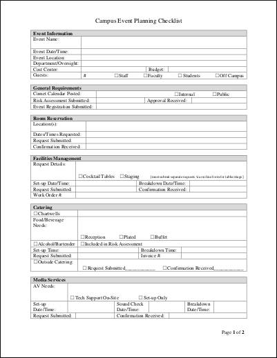 Pre Planning Checklist Sample for sample checklist templates