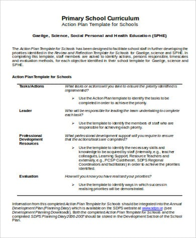 Primary School Action Plan For Sample School Action Plan