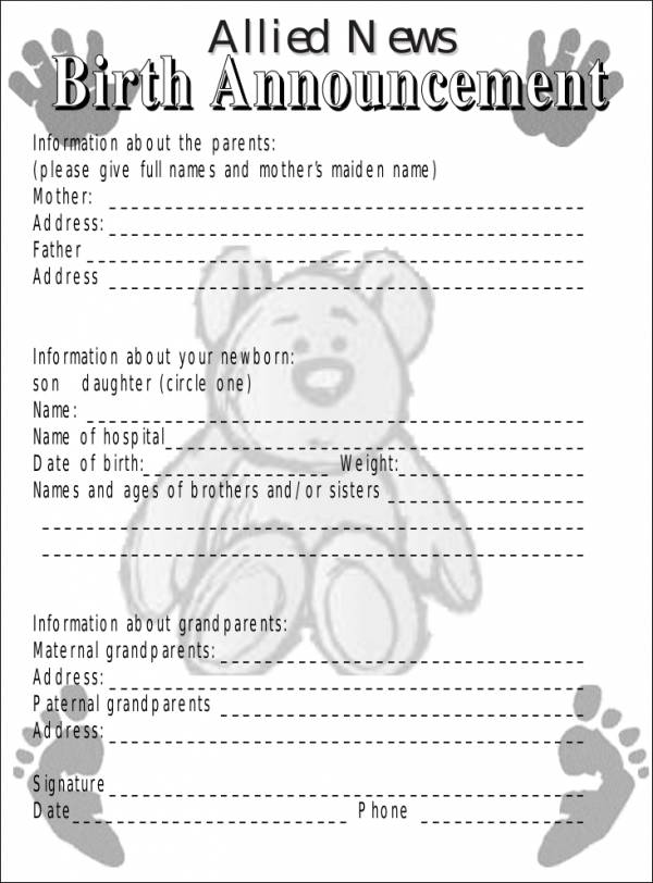 Printable Birth Announcement Template for free notice template