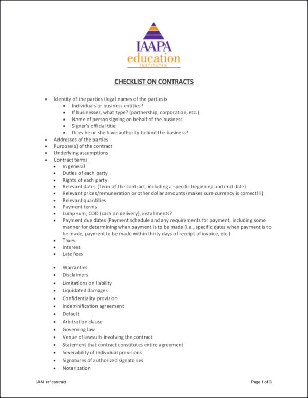 Printable Contract Checklist for sample checklist templates