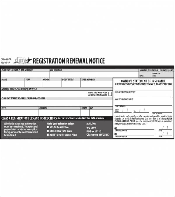 Registration Renewal Notice Sample for free notice template