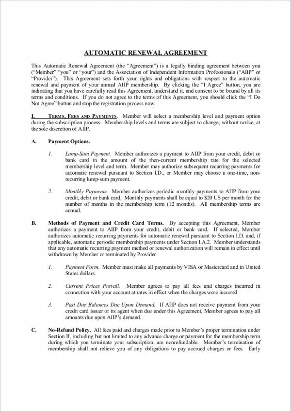 Renewal Notice Sample for Automatic Renewal of Agreement for renewal notice sample